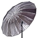 CowboyStudio Professional Strobe Speedlight Flash Reflector Silver Black Reflective Parabolic Umbrella, 57 inch