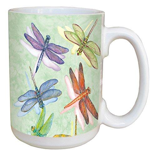 Russell Ceramic Mug (Tree-Free Greetings 45500 Wendy Russell Dragonflies Ceramic Mug with Full-Sized Handle,)