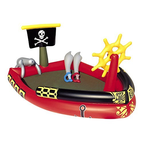 Kids-Inflatable-Pool. This Kiddie Blow Up Above Ground Swimming Pool Is Great For Toddlers, Children To Have Outdoor Water Fun With Slide, Toys, Floats. Pirate Play Pool Center Baby Swim. -