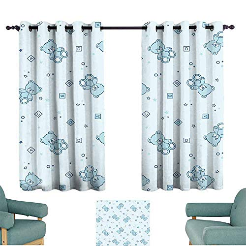 SONGDAYONE Nursery Durable Curtain Teddy Bears and Toys with Letters on Children Imagery Baby Blue Background Reduce Light Baby Blue Aqua (2 Panels,W72 xL63)