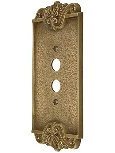 - Art Nouveau Single Push Button Cover Plate In Antique-By-Hand Finish
