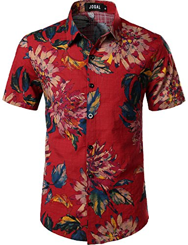 JOGAL Men's Flower Casual Button Down Short Sleeve Hawaiian Shirt Medium A334 Red ()