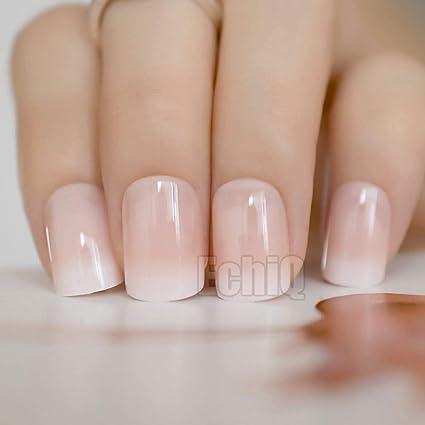 24 uñas postizas de color beige degradado con puntas de manicura ...