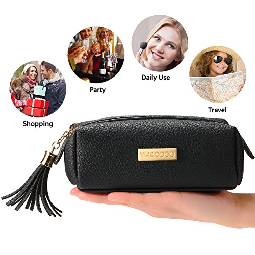 Cosmetic Bag,YM&COCO Makeup Bag Smooth Gold Zipper Storage Bag Toiletry Bag Travel Purse Pouch PU Leather Organizer(6.7