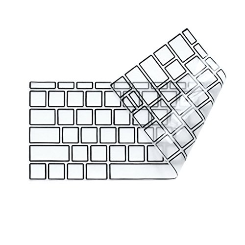 """Masino Silicone Keyboard Cover Skin for New MacBook Pro 13-inch 13"""" Model Without/No Touch Bar A1708-Released in 2016 & MacBook 12"""" 12-inch A1534-Released in 2015 (Clear with Black Frame)"""