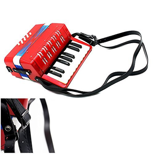 Andoer 17-Key 8 Bass Mini Small Accordion Kids Children Educational Musical Instrument Rhythm Band Toy (Red)