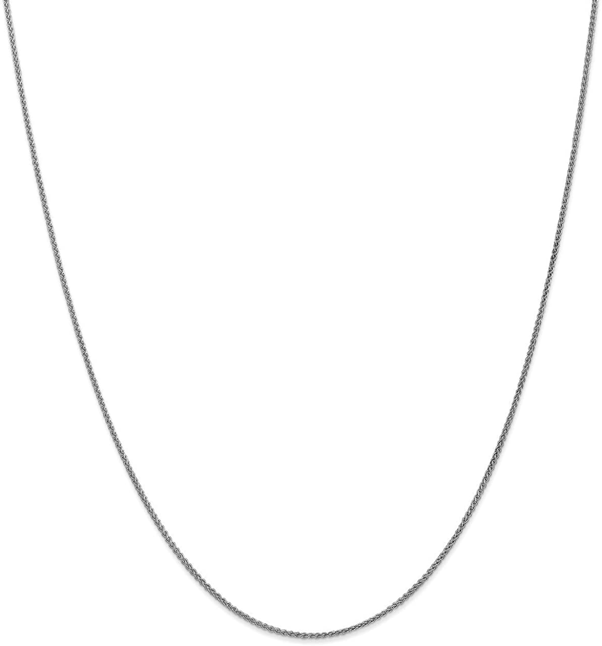 Lex /& Lu Leslies 14k White Gold 1.2mm Wheat Chain Necklace