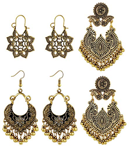 Hanpabum 3Pairs Indian Style Gold/Silver Plated Vintage Drop Dangle Earrings for Women Girl Mandala Flower Tribal Hollow Pendant Earrings Set