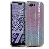 kwmobile TPU Silicone Case for Huawei Honor 10 - Crystal Clear Smartphone Back Case Protective Cover - Blue Dark Pink Transparent