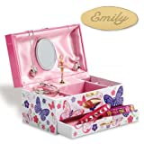 Lillian Vernon Personalized Butterfly Floral Music Box, girls jewelry b Deal