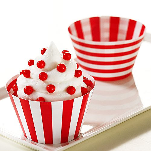 BirthdayExpress Red and White Reversible Cupcake Wrappers