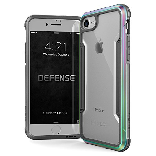 iPhone 8 & iPhone 7 Case, X-Doria Defense Shield Series - Military Grade Drop Tested, Anodized Aluminum, TPU, and Polycarbonate Protective Case for Apple iPhone 8 & 7 (Iridescent)