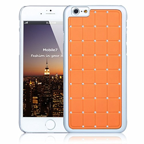 NiceStyle Apple Iphone 6 LUXURY CRYSTAL Cross Diamond Orange Case Bling Hard Cover with White Frame For Apple Iphone 6 By G4GADGET®