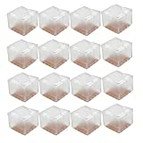 "Hommii Chair Leg Feet Wood Floor Protectors Set, Felt Pads, Square 1-1/8 to 1-3/8"" (Clear 16 Pack)"