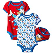 Disney Baby-Boys Donald Bodysuit and Bib, Red, 3-6 Months (Pack of 3)