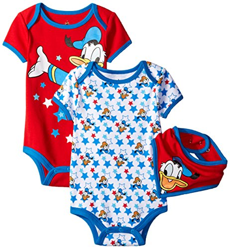 (Disney Baby-Boys Donald Bodysuit and Bib, Red, 12 Months (Pack of 3))