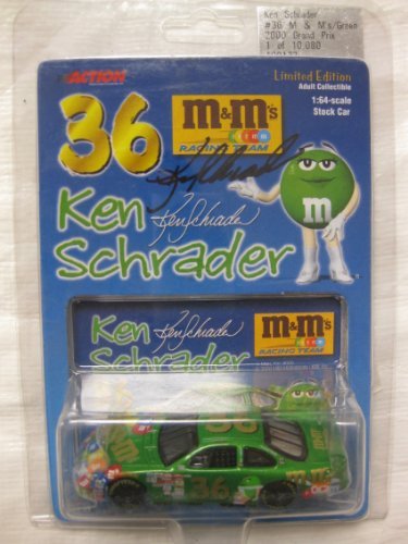 Nascar Die-cast #36 Ken Schrader M&M's chocolate candies 2000 Green Grand Prix Limited Edition #1 of 10,080 in a 1:64 scale car W/ Collector's Card by Action Collectibles