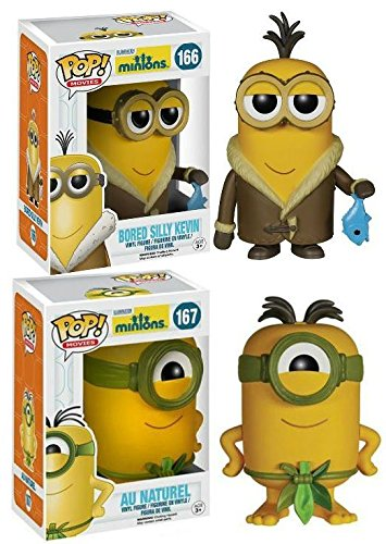 Funko POP! Minions: Au Naturel + Bored Silly Kevin - Movie Vinyl Figure Set NEW