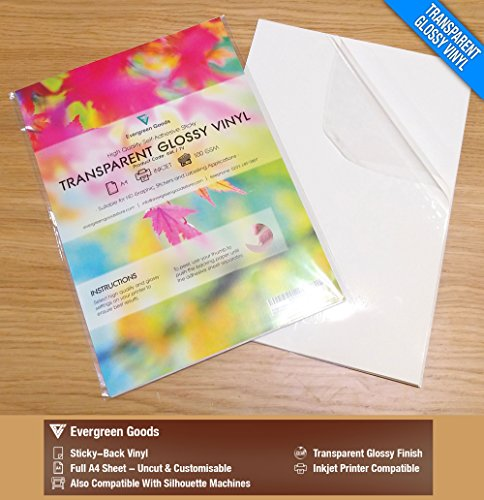 - 20 Sheets A4 Clear/Transparent Vinyl Glossy Self Adhesive Sticker Quality Inkjet Printable Non Waterproof Gloss Finish- Make Your own Stickers, Products Labels, Signs and More