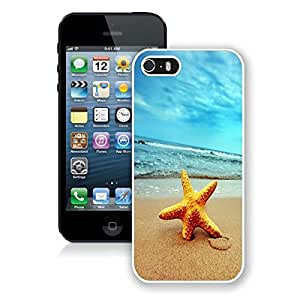 Graceful Apple Iphone 5s Case Starfish on Beach White Soft Rubber TPU Cell Phone Protective Case Cover for Iphone 5