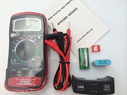 New HY6300 Digital Voltmeter Ohmmeter Ammeter Multimeter with Cable test:RJ11/RJ12/RJ45/USB