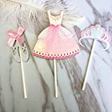 5 Set Little Princess Series Cake Toppers Cute Dress with Crown and Dance Shoes Birthday Party Decoration