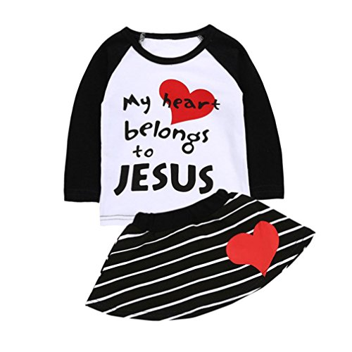 Lisin Newborn Infant Baby Girls Christian Letter Print T-Shirt Tops Striped Skirt Outfits Set (White, Size:6Months)
