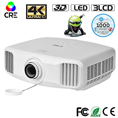 2K Home Theater Projector, CRE X8000 3LCD Android Smart 3D Projector Epson Home Cinema WIFI Full HD Projector with LiveTV Services by LiveTV.Direct