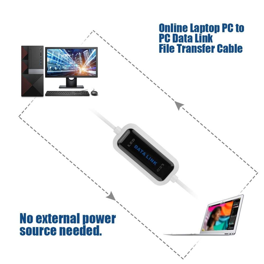 ASHATA Data Transfer Cable,USB 2.0 Online Laptop PC to PC Data Link File Transfer Cable Bridge EC USB 2.0 Windows Transfer Cable Compatible with Windows