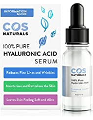 COS Naturals 100% Pure Hyaluronic Acid Serum Organic Anti Aging Moisturizer for Face and Skin, 1 oz