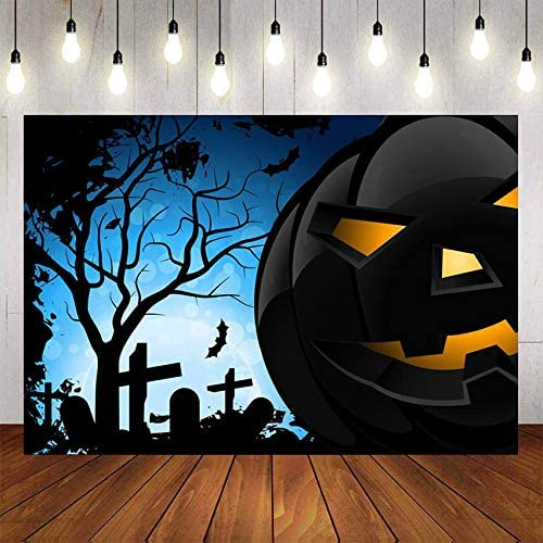 Booth Photo Vinyl Black Forest Bats Circle The Cemetery in The Blue Night Pictures Studio Backdrop Horror Halloween Pumpkin Lantern Fabric Props Shoot Modern