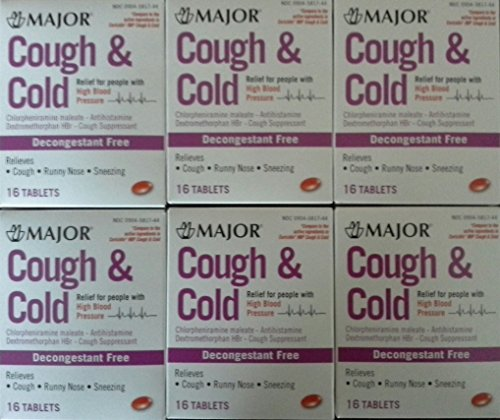 Cough & Cold HBP Antihistamine Cough & Cold Suppressant Tablets for People with High Blood Pressure, 16-Count Boxes (Pack of 6) *Compare to the same active ingredients found in Coricidin® HBP & Save* (Best Decongestant For High Blood Pressure)