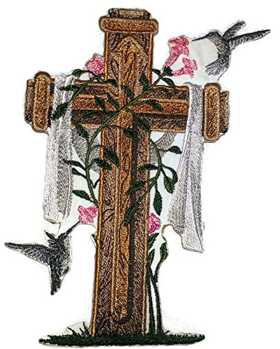 [Custom] Holy Sacred Cross with Nature's Bounty [Cross and Hummingbirds] Embroidery Iron On/Sew patch [6.5'' x 4.85''][Made in USA] by BeyondVision