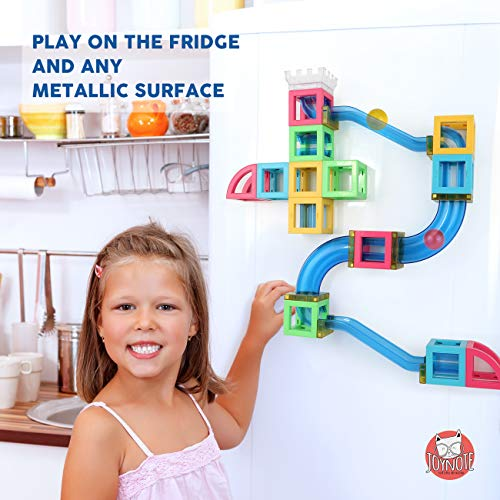 Magnetic Blocks with Marble Run Set Game - 63pcs Marble Maze Race Track Learning Toy for Kids, Construction Child Education Track Building Blocks (Storage Bag and Guidebook Include) by Gamenote (Image #2)