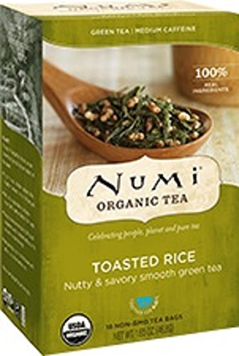 Numi Organic Tea Toasted Rice Sencha, 18 Bags, Organic Green Tea in Non-GMO Biodegradable Tea Bags, Premium Bagged Organic Green Tea, Organic Sencha with Toasted Rice (Packaging May Vary)