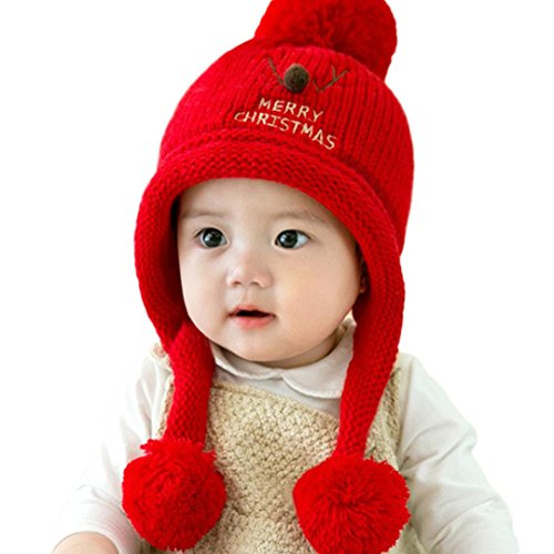 KaiCran Fashion Baby Beanie Cap For Boys Girls Christmas Cap Cotton Knitted Ball Warm Hats (Red) (Cristmas Balls)