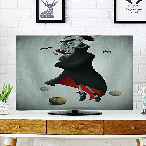 Jiahonghome Protect Your TV Halloween Night Pumpkins and Old Vampire with Cape Flying Bats Black Almond Green Protect Your TV W30 x H50 INCH/TV 52