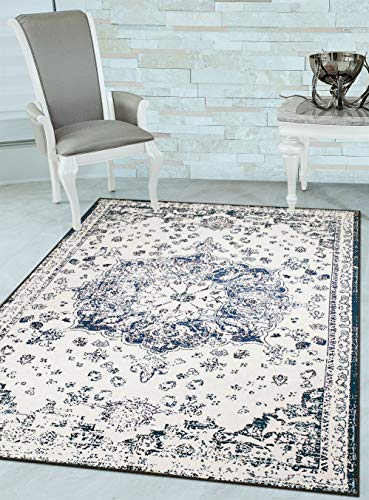 - Woven Trends 048 Vintage Medallion Transitional Area Rug with Non-Slip Backing, Navy, 3' x 5'