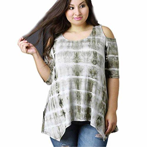Asymmetric Flounce Dress (TIFENNY Plus Size Ladies Short Sleeve Floral Prints Shirt Tops Sexy Blouse (XXL, Green))