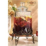 Home Essentials & Beyond Del Sol Hammered 2.25 gallon Beverage Dispenser with Rack, Clear