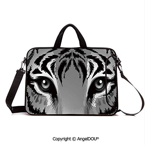 AngelDOU Notebook Bag for School Laptop Sleeve Messenger Bags Tiger with Sharp Eyes Monochrome Wildlife Animal Illustration Felidae Carnivore PC Cover case Compatible with mac pro/asus/acer/hp/xiao