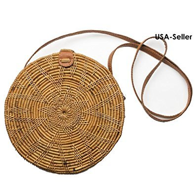 Tan Woven Handbag (Round Rattan Basket Handbag Bohemian Trendy Handwoven ATA Straw Circle Bali Crossbody Shoulder Bag US SELLER! FAST SHIPPING! (Starfish Tan))