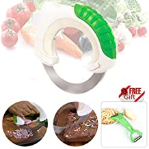 Rolling Knife Stainless Steel, SEANUT Cool Concept Circular Kitchen Knives Pasta Slicer Sharp Blade, Gift: vegetable peeler