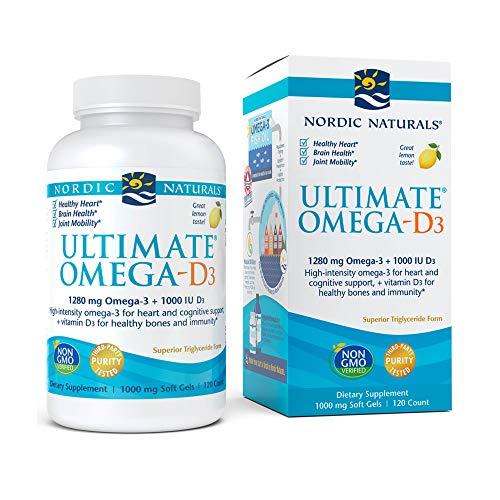 Nordic Naturals Ultimate Omega-D3, Lemon Flavor – 1280 mg Omega-3 + 1000 IU Vitamin D3-120 Soft Gels – Omega-3 Fish Oil…