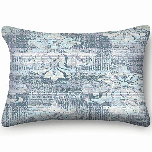 best bags Duck Egg Blue Damask Vintage Cotton Linen Blend Decorative Throw Pillow Cover Cushion Covers Pillowcase Pillow Shams, Home Decor Decorations for Sofa Couch Bed Chair 20X36 Inch