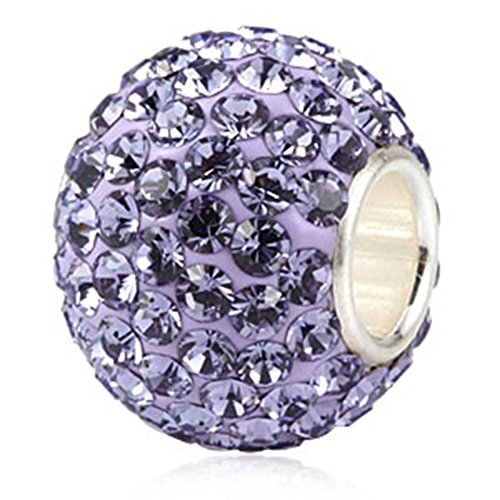 Tanzanite Crystal Bead - Choruslove Top Quality June Birthstone Charms Sparkling Tanzanite Austrian Crystal Round 925 Sterling Silver Solid Core Bead for European Style Bracelet Jewelry