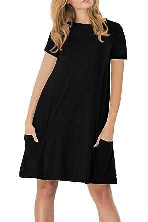 549304b0339 YMING Women's Casual Summer Dress Short Sleeve Mini Dress Pocketed Dress  Black XS