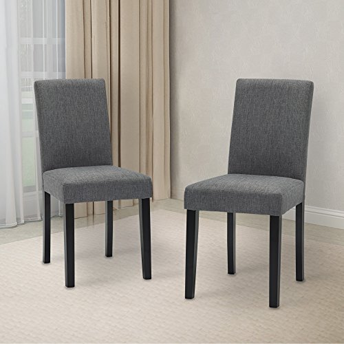 LSSBOUGHT Set Of 2 Classic Fabric Dining Chairs Dining Room Chair With  Solid Wood Legs, Grey