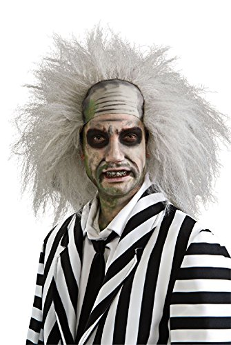 [Beetlejuice Wig Mad Scientist Bald Hair Zombie Adult Halloween Costume Accessory] (Deluxe Beetlejuice Adult Halloween Costumes)