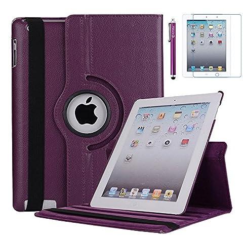iPad 2 Case, iPad 3 Case, iPad 4 Case, AiSMei Rotating Stand Case Cover with Wake Up/Sleep For Apple iPad 2, iPad 3, iPad 4 [ 9.7-Inch iPad Released before 2013 ] [Bonus Film+Stylus] (Touch Ipad A1416)